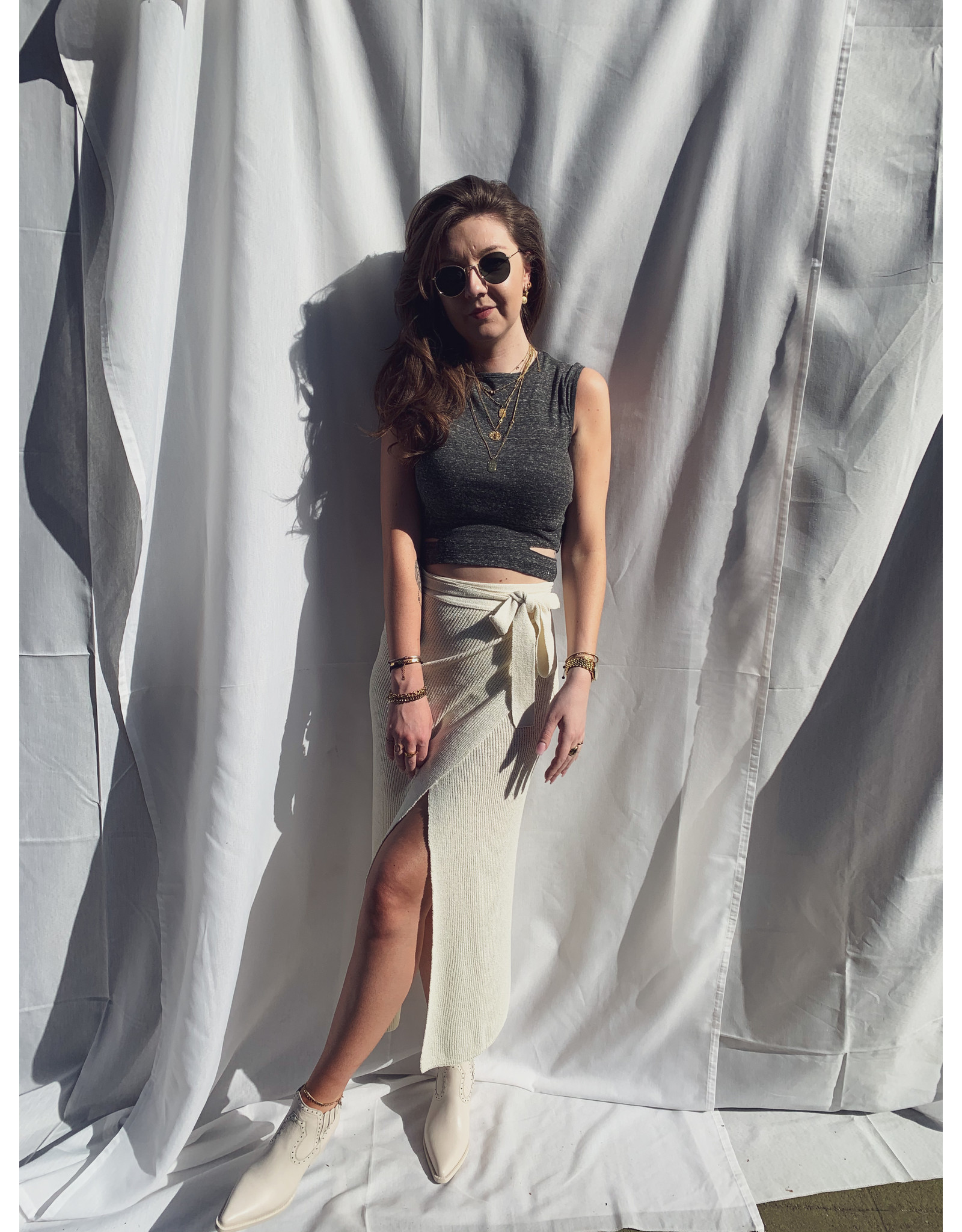 MW Advida Knitted Wrap Skirt Off White