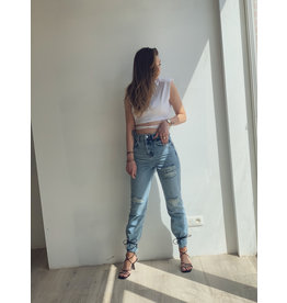 NA-KD Destroyed Detail High Waist Straight Jeans