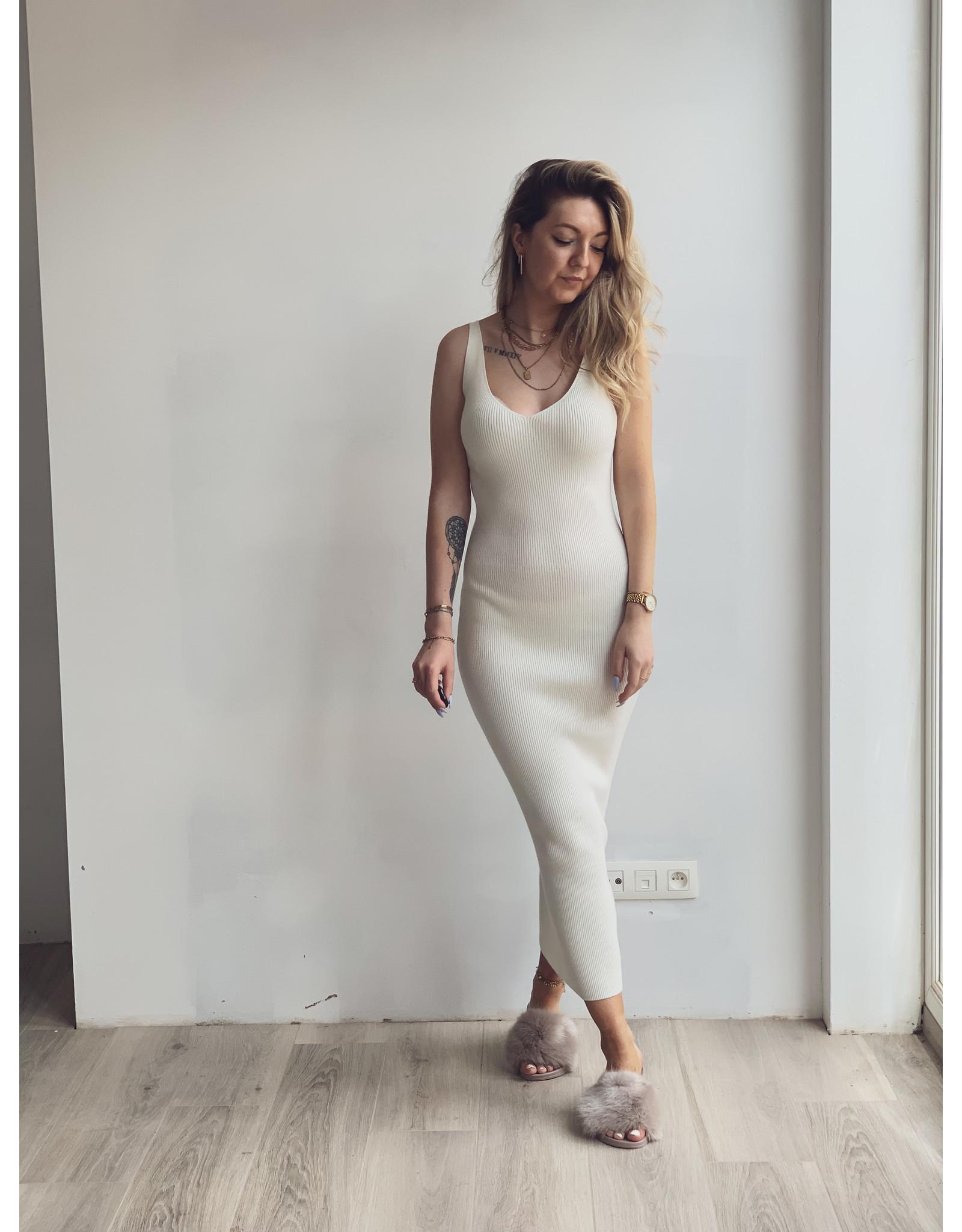 Lara Ribbed midaxi Dress Cream