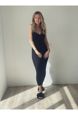 Lara Ribbed Midaxi Dress Black
