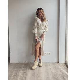 Beau Wrap Midi Dress Cream