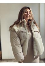 Stef Teddy Puffer Jacket - Beige