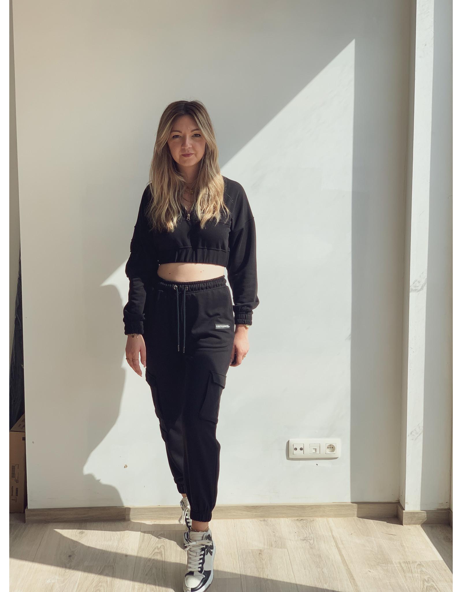 SJ Cropped zipped sweater Black