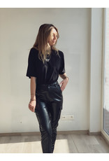 SJ Faux lether cargo pants Black