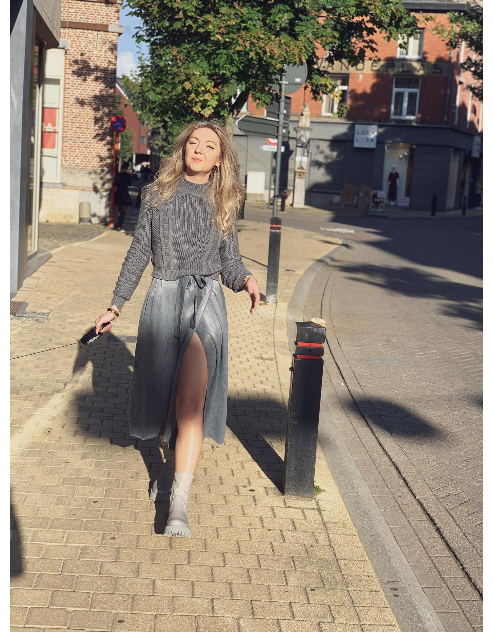MW Jade Satin Dress Stone Grey