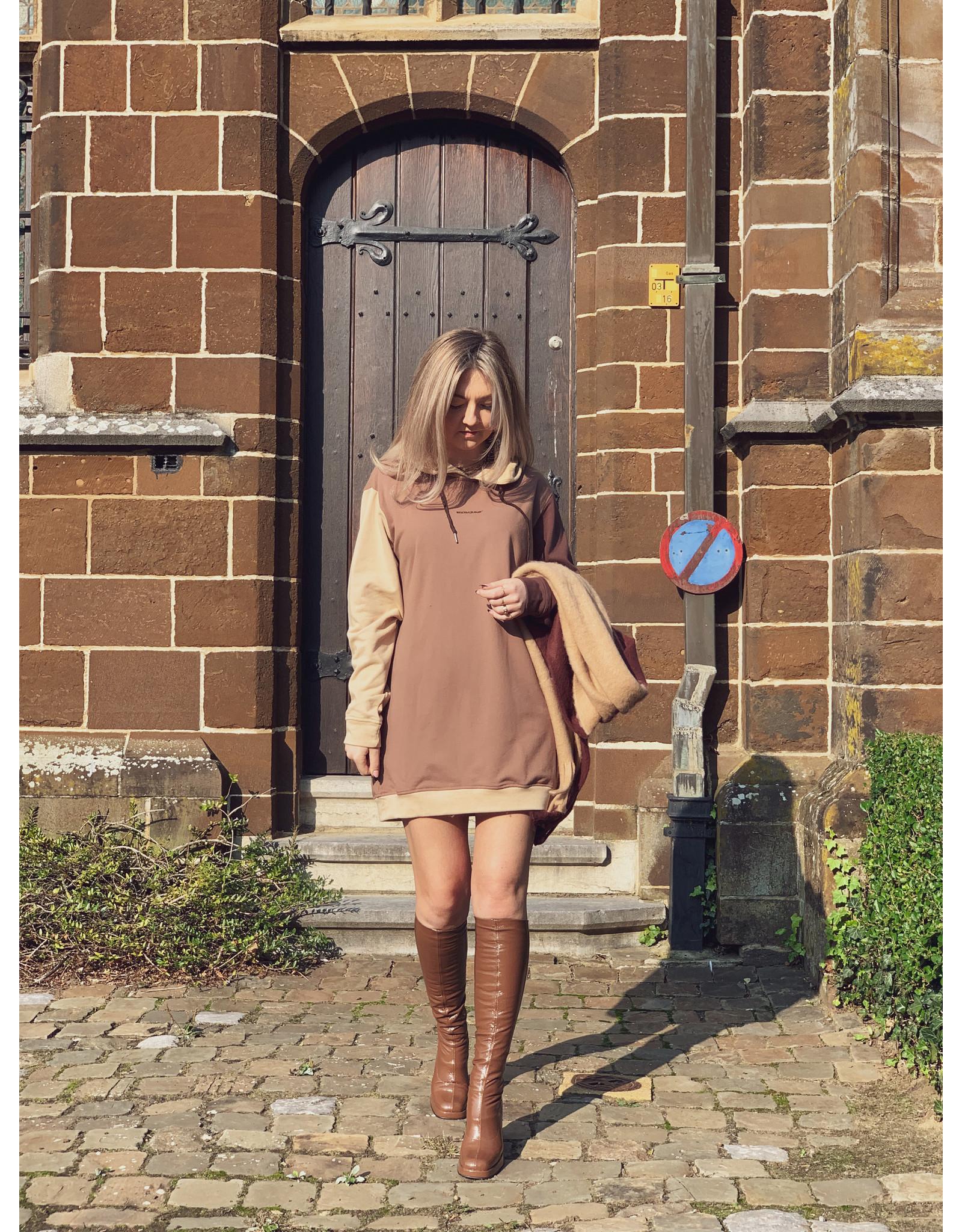 SJ Tricolored hoodie dress Beige