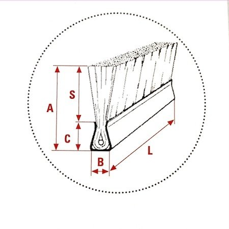 SIT Abstreifbürstenleiste L = 1000 mm x 10 mm, H90mm (Rosshaar)
