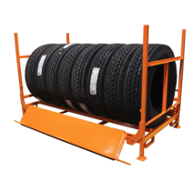 Foldable & Stackable Truck Tyre rack, W ramps
