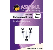 Ashima Baitscrew with 3 mm ring clear 8 pcs