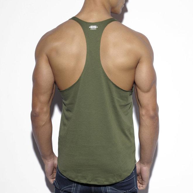 ES fitness plain tank top khaki
