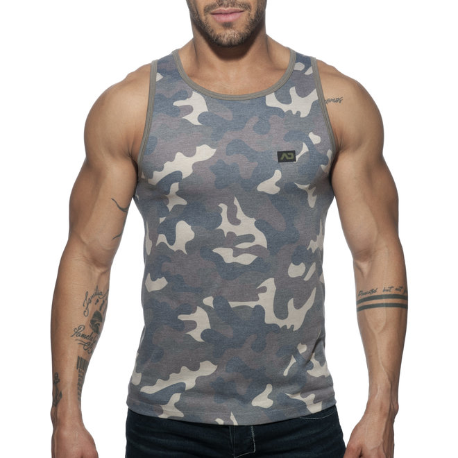 AD washed camo tank top