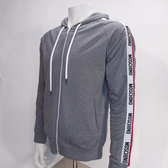 Moschino logo zip hoodie grey