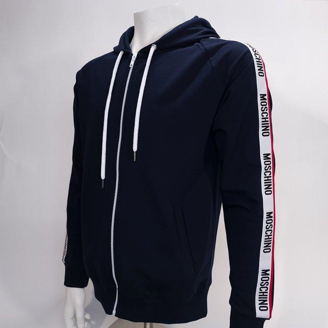 Moschino logo zip hoodie navy