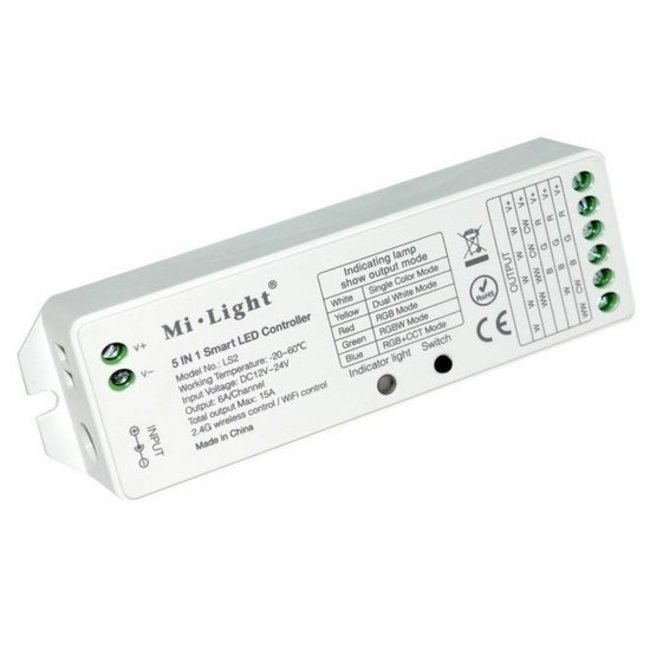 MILIGHT MiLight LS2 5-in-1 controller WIT/RGB/RGBW/RGB+CCT LED strip controller 8 zone