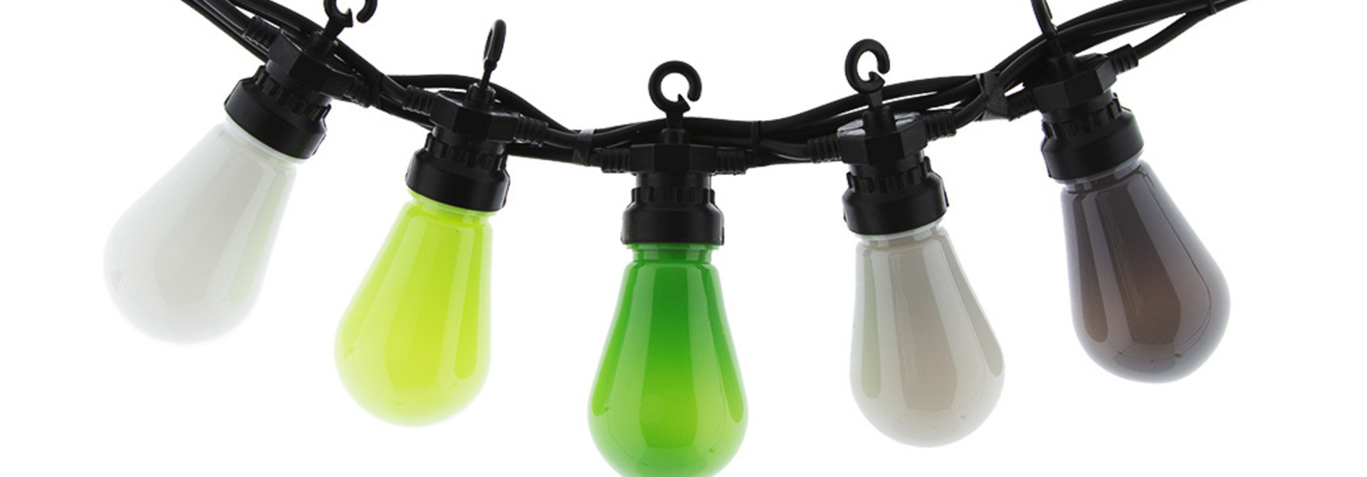 LEDR buiten feestverlichting groen - Outdoor Patio Lichtslinger Green Grey - 10 LED lampen - Edison Bulbs