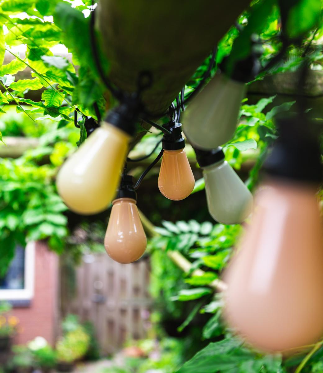 LEDR buiten feestverlichting groen en roze - Outdoor Patio Lichtslinger Paradise - 10 LED lampen - Edison Bulbs-3