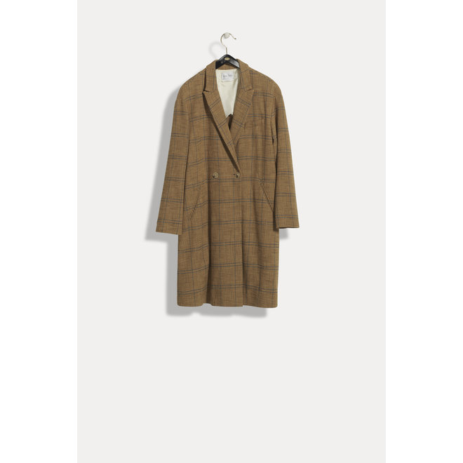 FORTE_FORTE SHORT WOOL COTTON GLEN CHECK COAT CAMMELLO