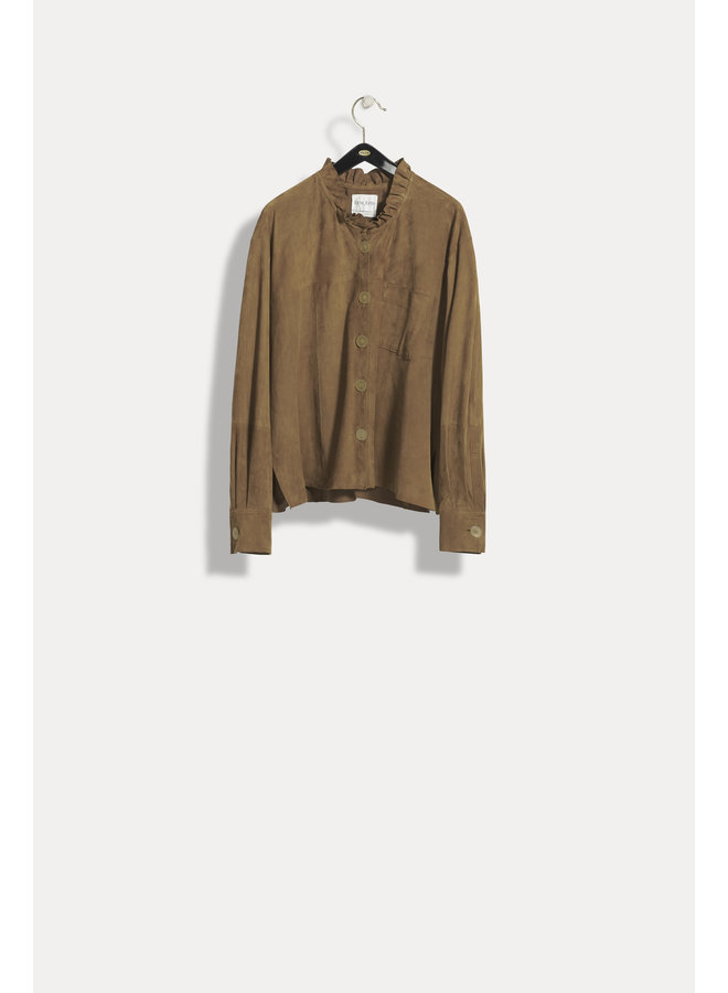 FORTE_FORTE SUEDE SHIRT WITH ROUCHES CARAMELLO