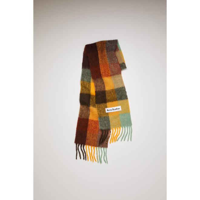 ACNE STUDIOS SCARF MULTI CHECK SCARF BROWN/YELLOW/GREEN