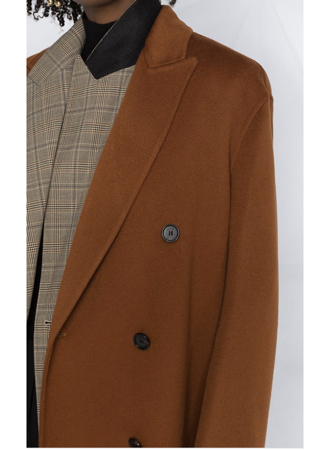 JOSEPH CLAVEL DOUBLE-BREASTED BROWN COAT