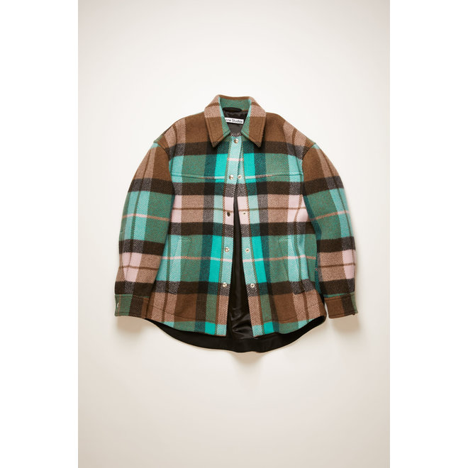 ACNE STUDIOS CHECKED OVERSHIRT TURQUOISE/BROWN