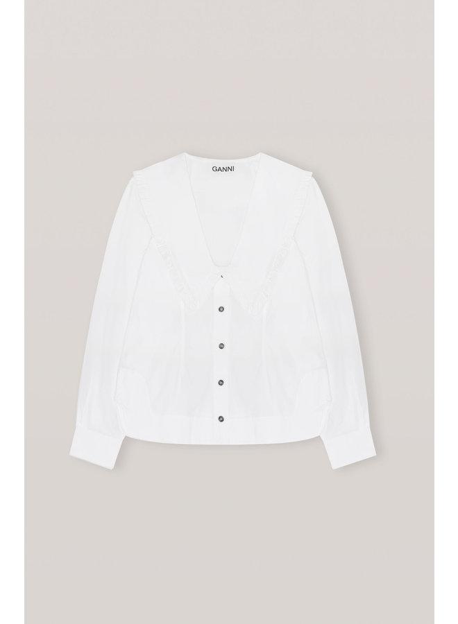 GANNI COTTON POPLIN BRIGHT WHITE F5778