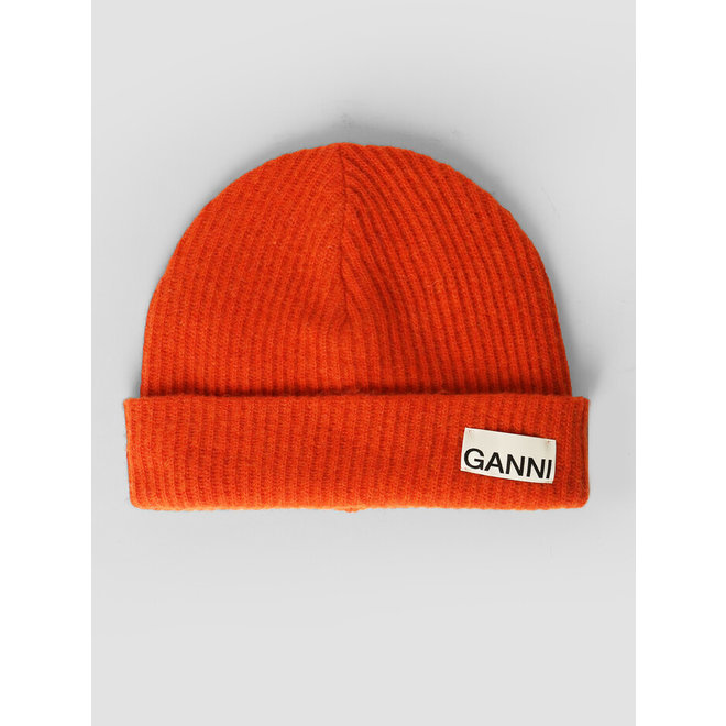 GANNI RECYCLED WOOL KNIT FLAME HAT