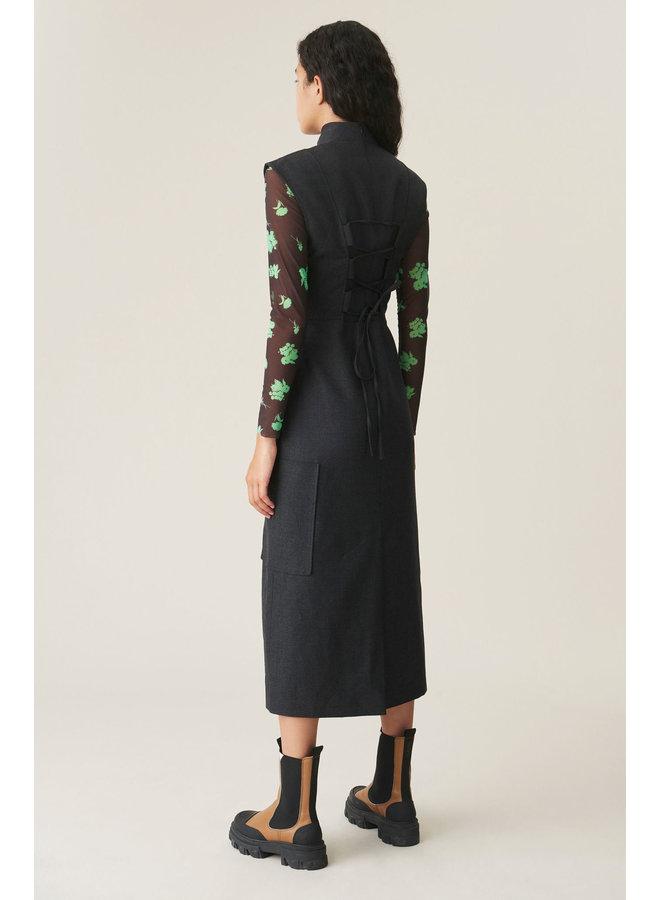 GANNI WOOL SUITING  DRESS PHANTOM F5489
