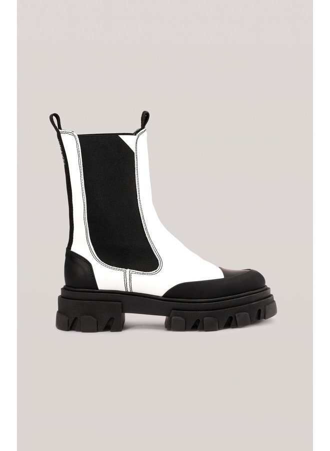 GANNI CALF LEATHER MID CHELSEA BOOT- WHITE