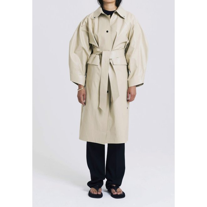 KASSL EDITIONS COAT KIMONO BELOW OIL SAND BELT BEIGE