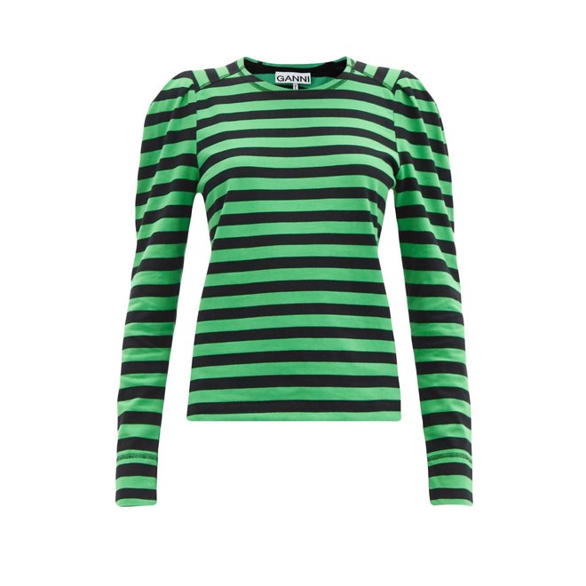 CAMELOT STRIPED COTTON JERSEY KELLY GREEN