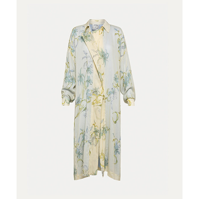 """FORTE_FORTE """"GELSOMINA"""" PRINT CHECK VOILE CABAN COAT IVORY"""