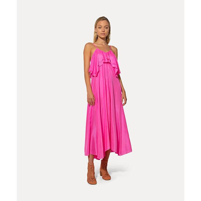 FORTE_FORTE HABOTAI SILK DRESS WITH STRAPS PINK SPIRIT