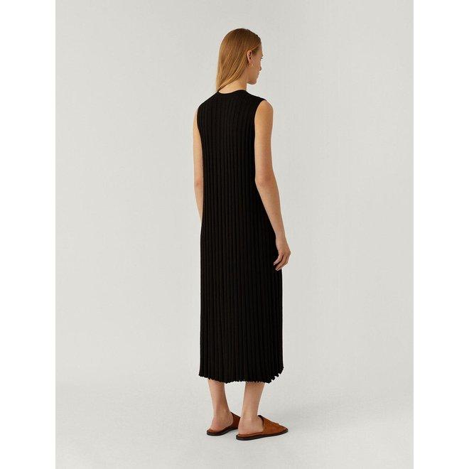 JOSEPH DRESS-TEXTURED RIB BLACK