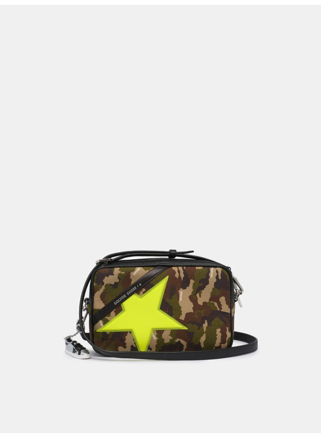 GOLDEN GOOSE STAR BAG COTRYP FABRIC FRONT PANEL DIAMANT GLITTER STAR CAMOUFLAGE/FLUO YELLOW/BLACK