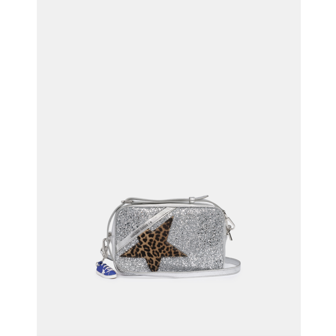 GOLDEN GOOSE STAR BAG GLITTER FRONT PANEL LEO PONY STAR SILVER/LEO