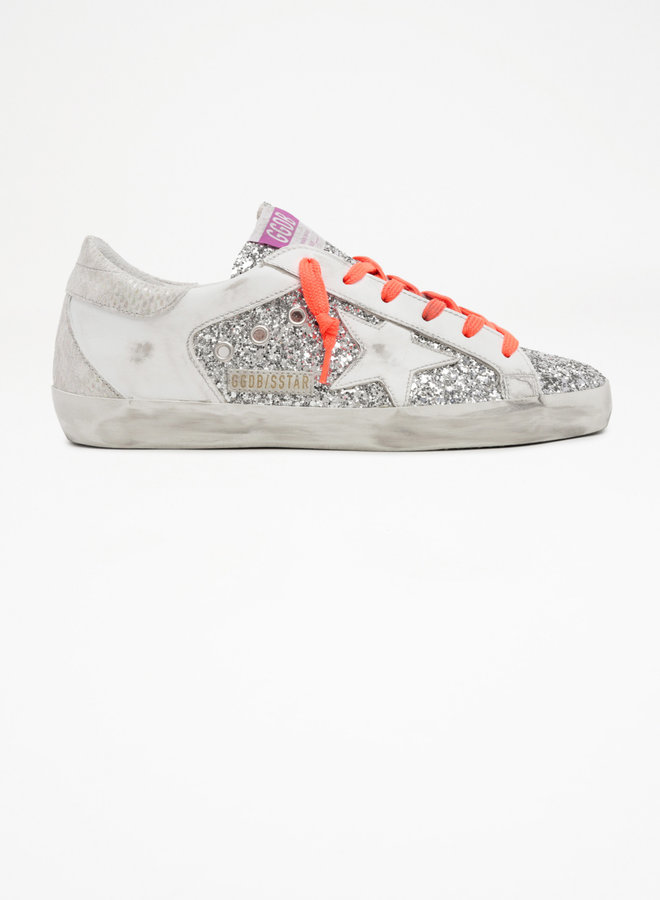 GOLDEN GOOSE SUPER-STAR GLITTER AND LEATHER UPPER LEATHER STAR PHYTON PRINT LEATHER HEEL AND SPUR SILVER/WHITE/ICE