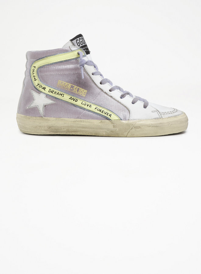 GOLDEN GOOSE SLIDE CHECKERED GLITTER UPPER LEATHER TONGUE WHIT SHEARLING LEATHER WAVE SUEDE HEEL SERIGRAPH LIGHT PINK/WHITE/YELLOW PEAR/LIGHT BLUE