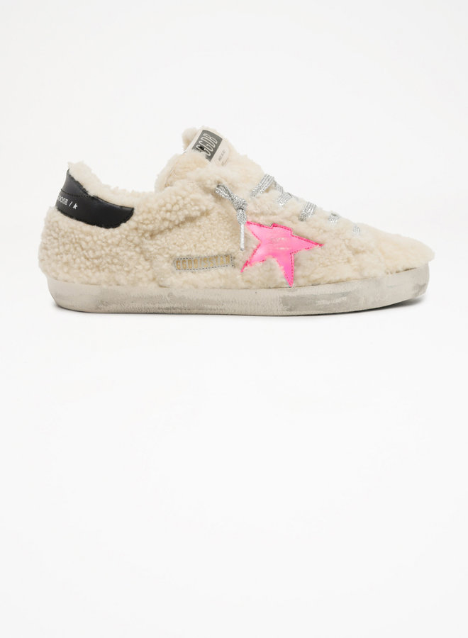 GOLDEN GOOSE SUPER-STAR SHEARLING UPPER AND LINING LEATHER STAR AND HEEL BEIGE/FLUO FUXIA/NIGHT BLUE