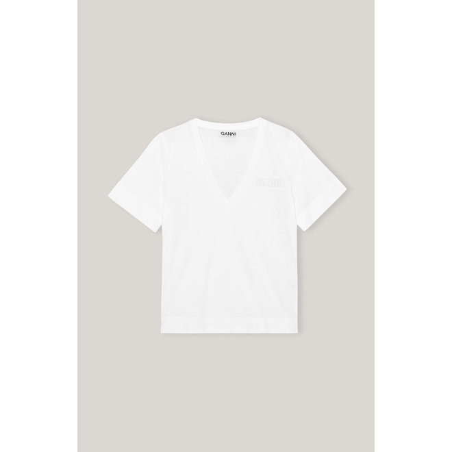 GANNI THIN SOFTWARE JERSEY T-SHIRT WHITE T2918