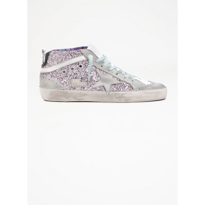 GOLDEN GOOSE MID STAR GLITTER UPPER SUEDE TOE STAR AND SPUR LEATHER WAVE CHECK JACQUARD LINING PINK/ICE/WHITE/NIGHT BLUE/MULTICOLOR