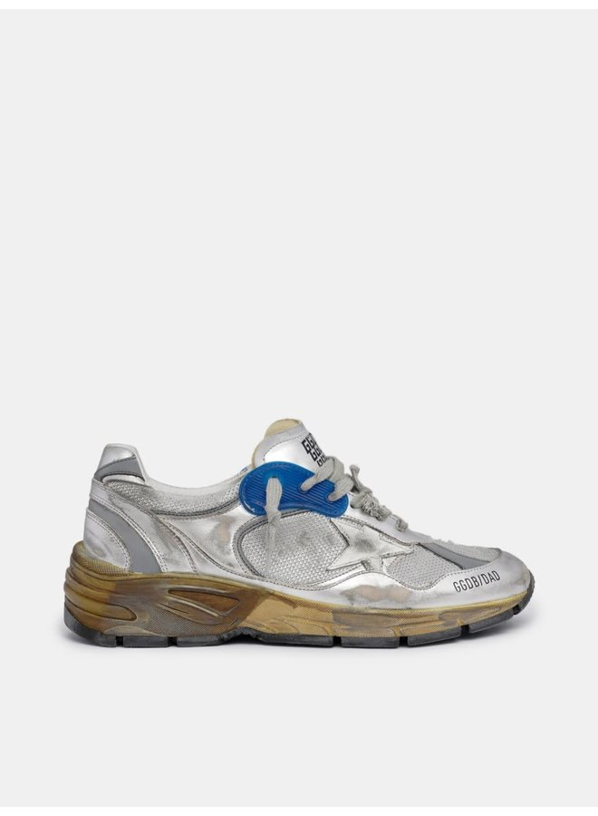 GOLDEN GOOSE RUNNING DAD NET AND LAMINATED UPPER LEATHER STAR LAMINATED SPUR DISTRESSED SILVER/WHITE