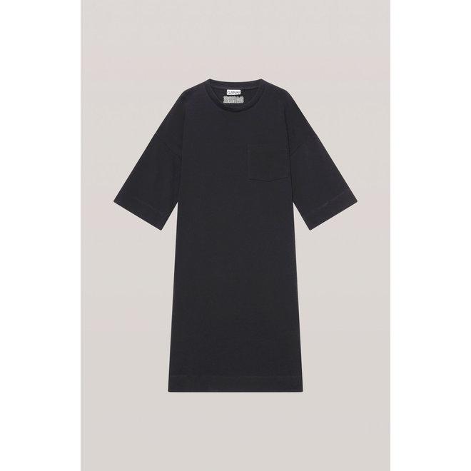 GANNI SOFTWARE JERSEY DRESS BLACK T2787