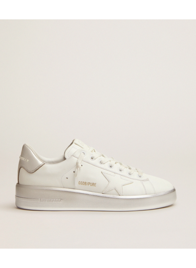 GOLDEN GOOSE STARDAN LEATHER UPPER LAMINATED STAR AND HEEL WHITE/SILVER