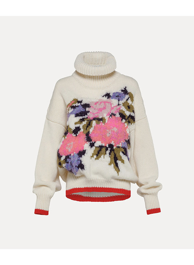 """FORTE_FORTE """"A FLOWER IN THE SNOW"""" INLAY SWEATER FUNNY"""