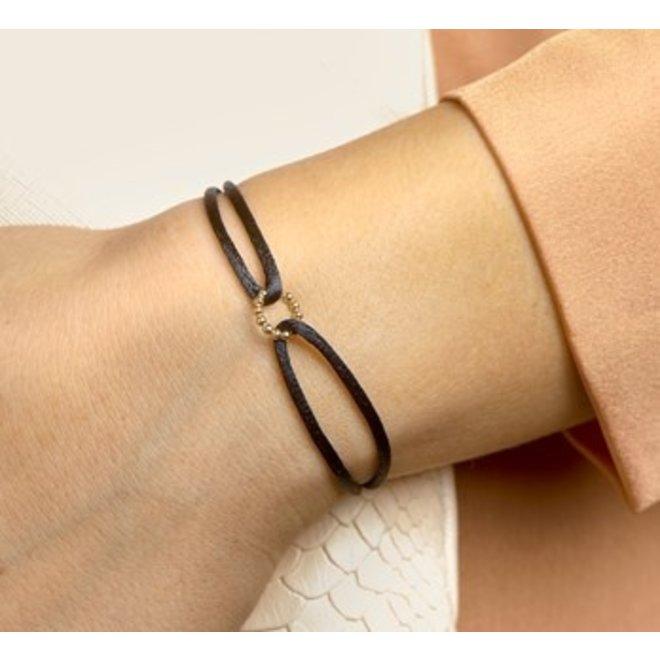 Armband geelgoud/satijn rondje (47.00134)