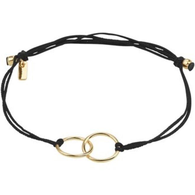 Armband geelgoud/katoen rondjes (47.00142)