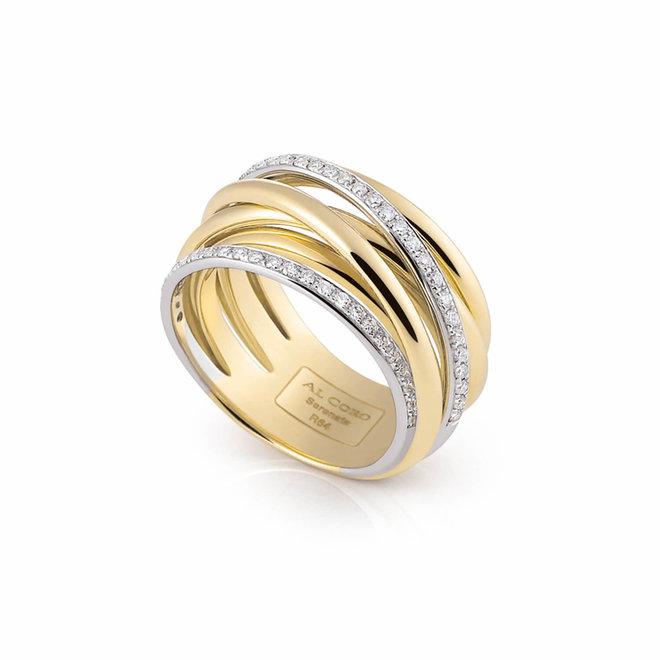 Al Coro Serenata ring wit- en geelgoud R6406G