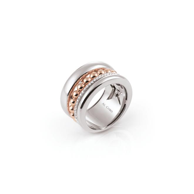 Al Coro Palladio ring wit- en roségoud R7268WR