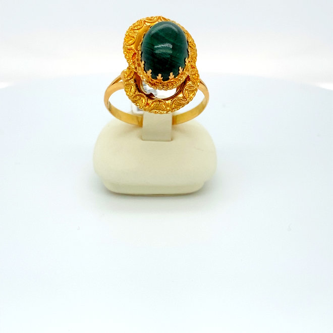 Geelgouden occasion dames ring malachiet